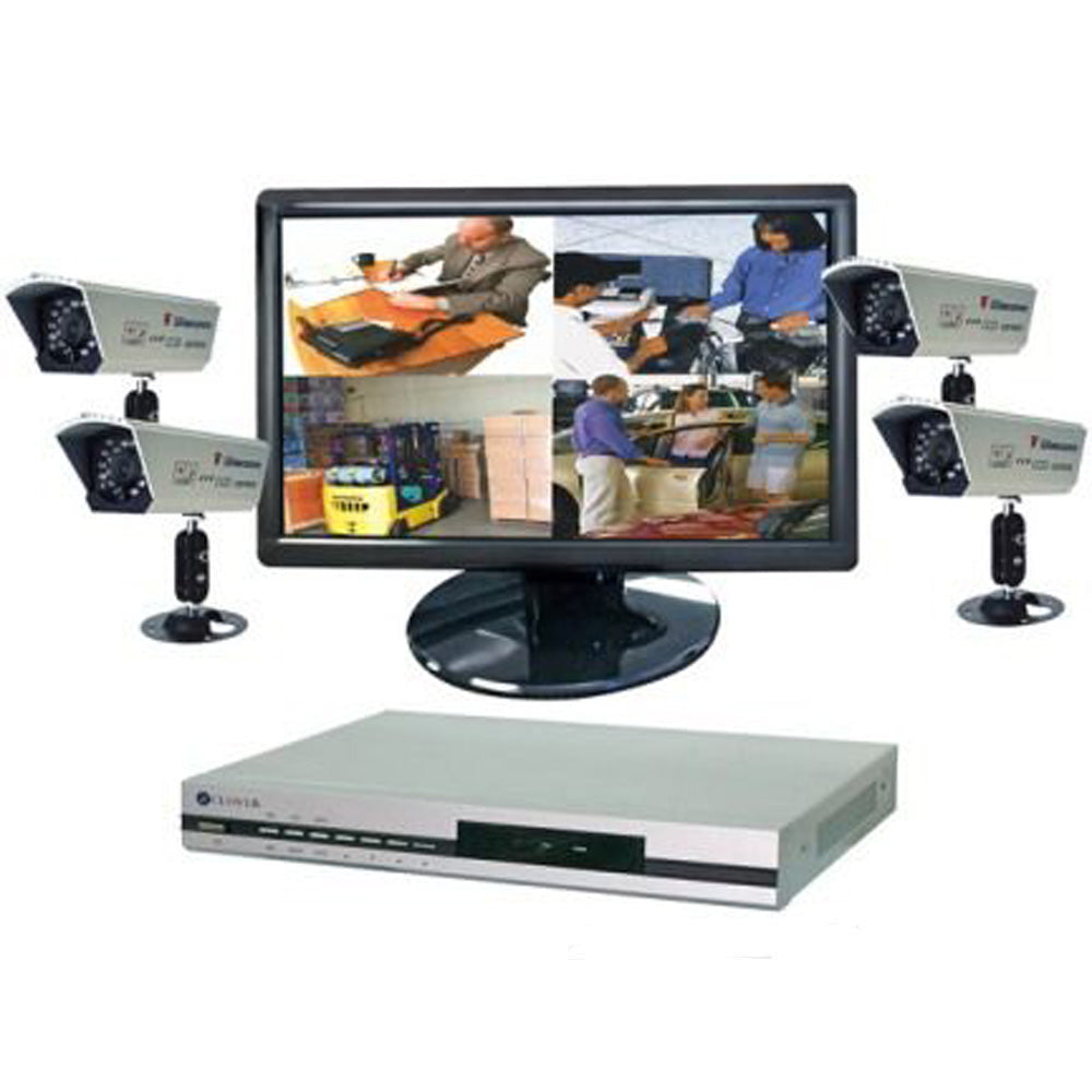 "Clover Bun2472 DVR Bundle with 19"" Widescreen LCD, Dvr 4 Cameras"