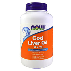 NOW Foods Cod Liver Oil Double Strength 650 mg. 250 Softgels