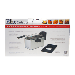 Elite Cuisine EDF-3507 Maxi-Matic 3.5 Quart Immersion Deep Fryer Stainless Steel