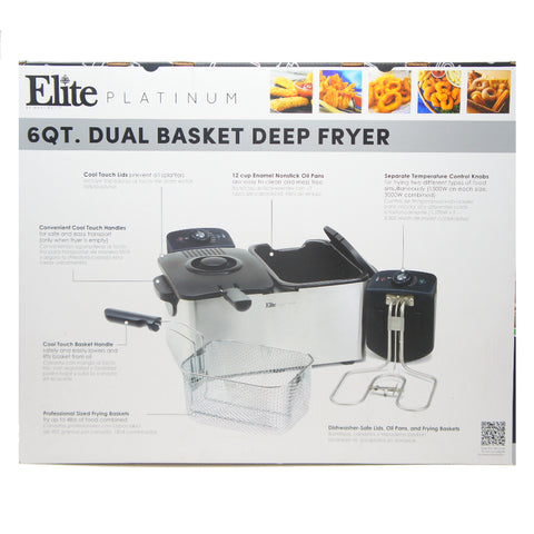 Elite Platinum EDF-3060 Maxi-Matic 6 Quart Deep Fryer, Stainless Steel