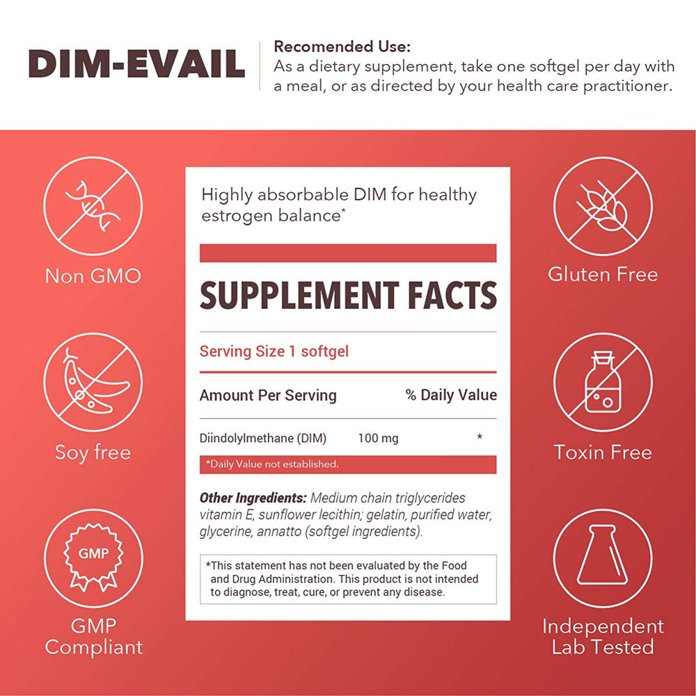 Designs for Health DIM-Evail 100mg Diindolylmethane without Soy, 120 capsules