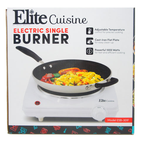 Maxi-Matic Elite Single Electric Flat Cast Iron Heating Plate Burner 1000W ESB-301F