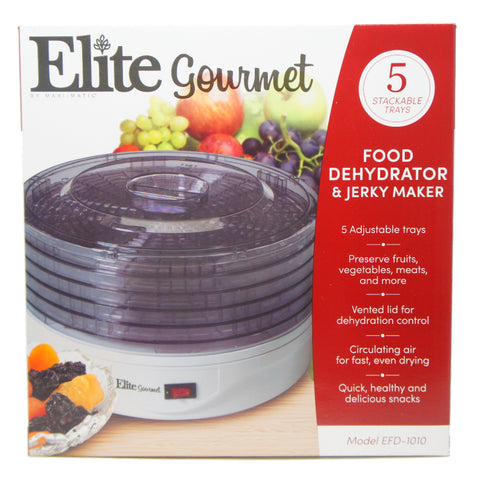 Maxi-Matic Elite 135W Food Dehydrator, 5 Stackable Transparent Trays, EFD-1010