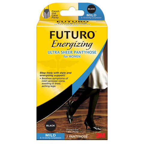 Futuro Energizing Ultra Sheer Pantyhose for Women (French Cut) - 8-15 Mmhg