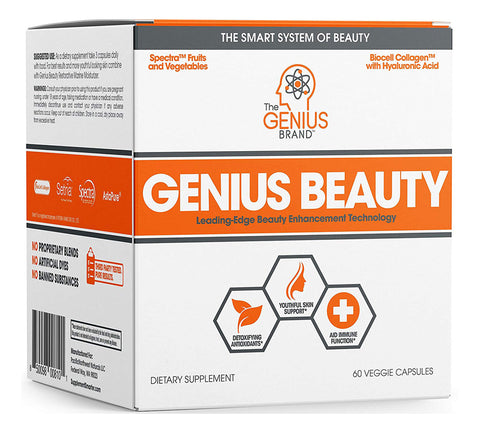 GENIUS BEAUTY Hair Skin and Nails Vitamins + Detox Cleanse + Anti Aging