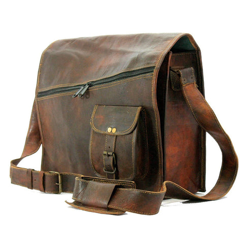 Handmadecraft Mens Satchel Vintage Leather Messenger Bag, Brown, Handmade