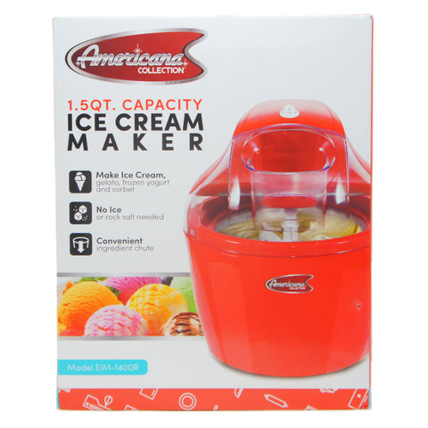 Elite EIM-1400R Ice Cream Maker with with Quick Freeze Bowl, 1.5 quart, Red