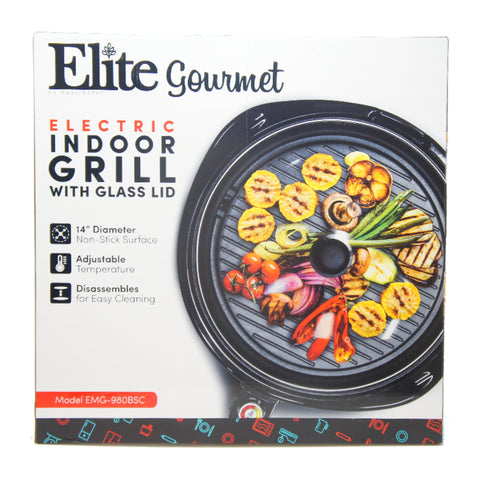 "Elite Large Indoor Electric Nonstick Grill Surface w/ Glass Lid 14"" Round B EMG-980BSC"