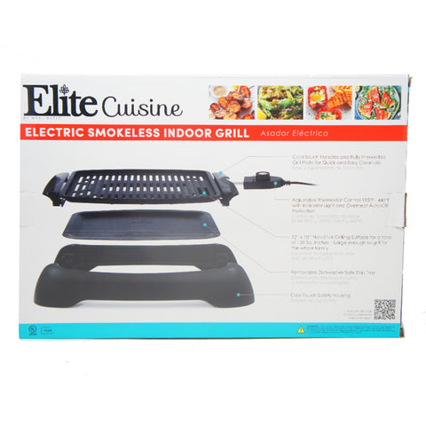 "Elite Indoor Electric Non-Stick Grill Adjustable Thermostat 12"" x 9"" Square EGL-3450"