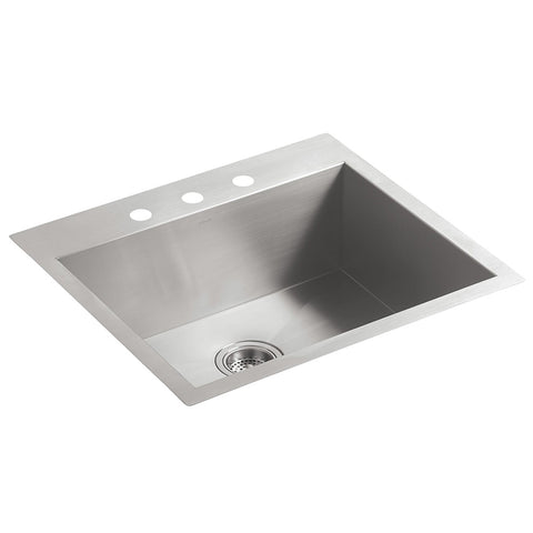 Kohler K-3822-3-NA Vault Medium Single Kitchen Sink with Three-Hole Faucet Drilling, Stainless Steel