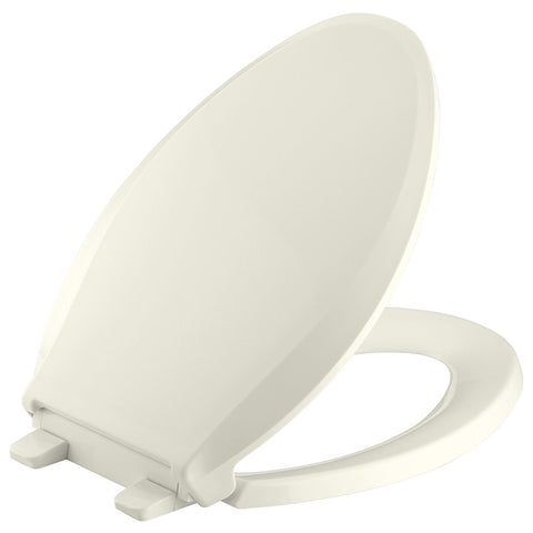 KOHLER K-4636-96 Cachet Quiet-Close with Grip-Tight Bumpers Elongated Toilet Seat, Biscuit