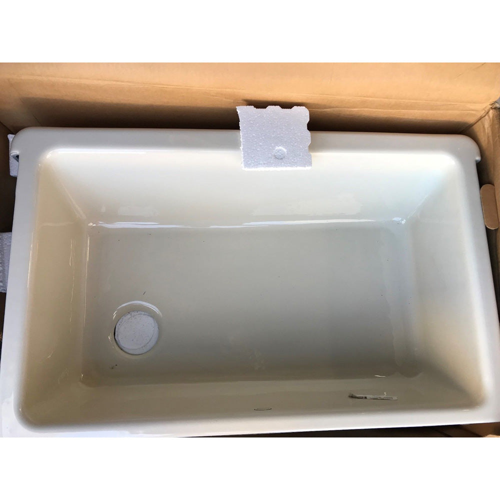 KOHLER K-6489-96 Whitehaven Self-Trimming Apron Front Single Basin Sink with Tall Apron, Biscuit (Used - like New)