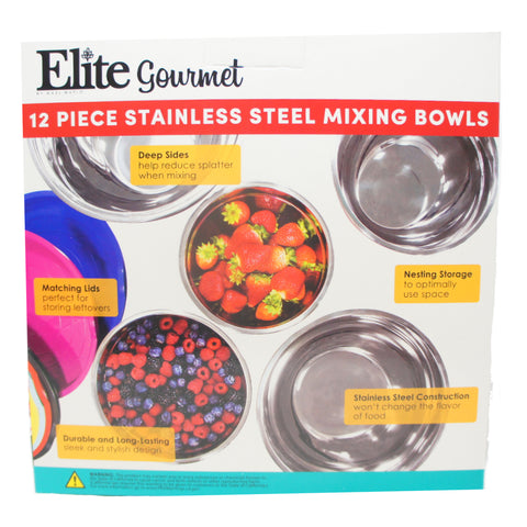 Elite Gourmet EBS-0012 12-Piece Multicolor Mixing Bowls, Multi-Color