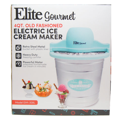 Elite EIM-308L 4Qt. Old Fashioned Galvanized Metal Bucket Electric Ice Cream Maker Teal