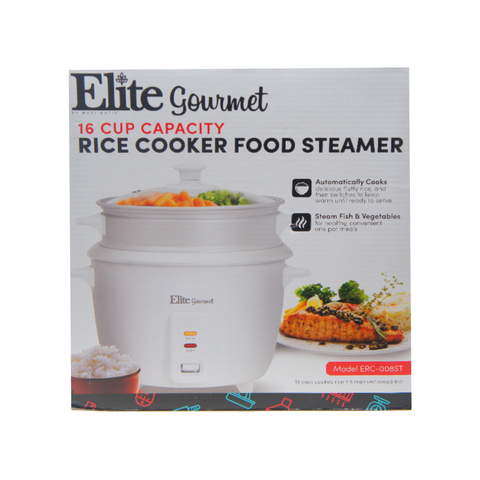 Maxi-Matic Elite Gourmet ERC-008ST Rice Cooker, 16 Cup, White