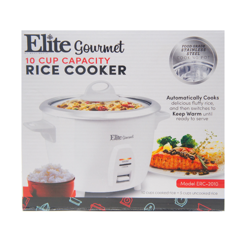 Elite Gourmet Electric Rice Cooker with Stainless Steel Inner Pot 10 Cups White ERC-2010