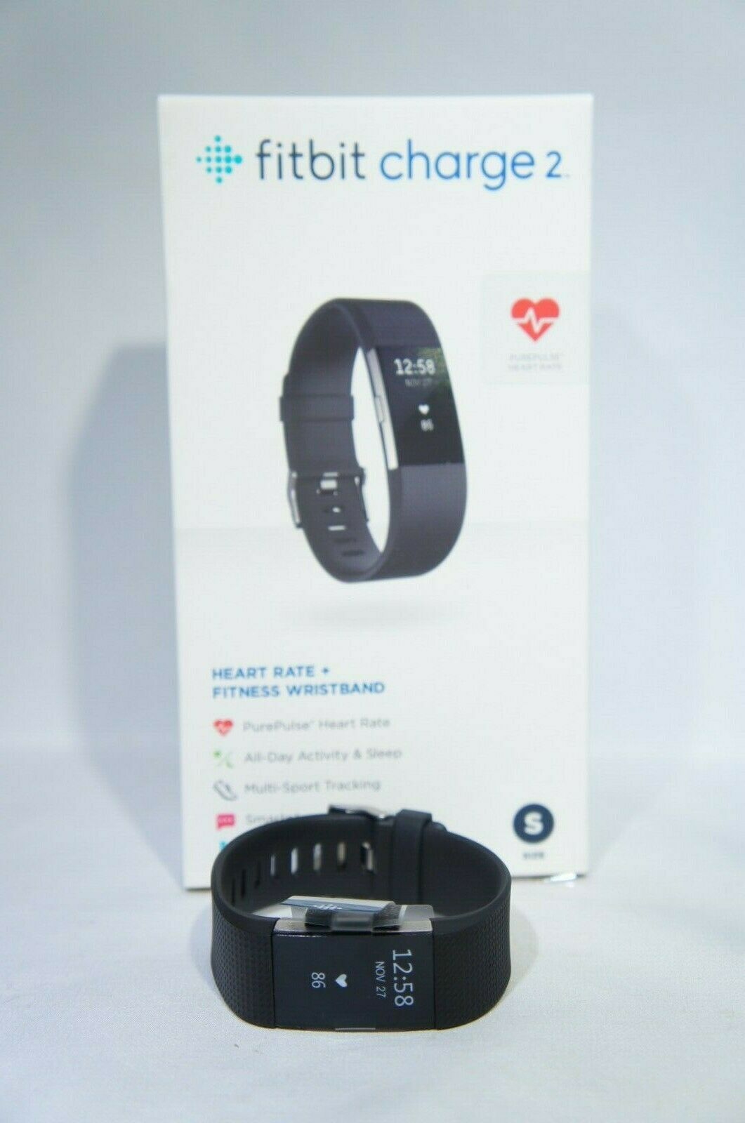 Fitbit Charge 2 Activity Tracker + Heart Rate + SMALL Black Fitness Wrist (Like New)