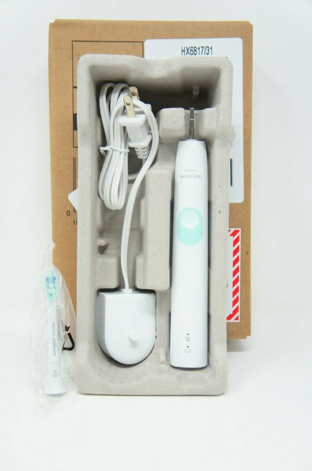 Philips Sonicare ProtectiveClean 4100 Plaque Control, Rechargeable electric toothbrush with pressure sensor, White Mint HX6817/01 (Like New)