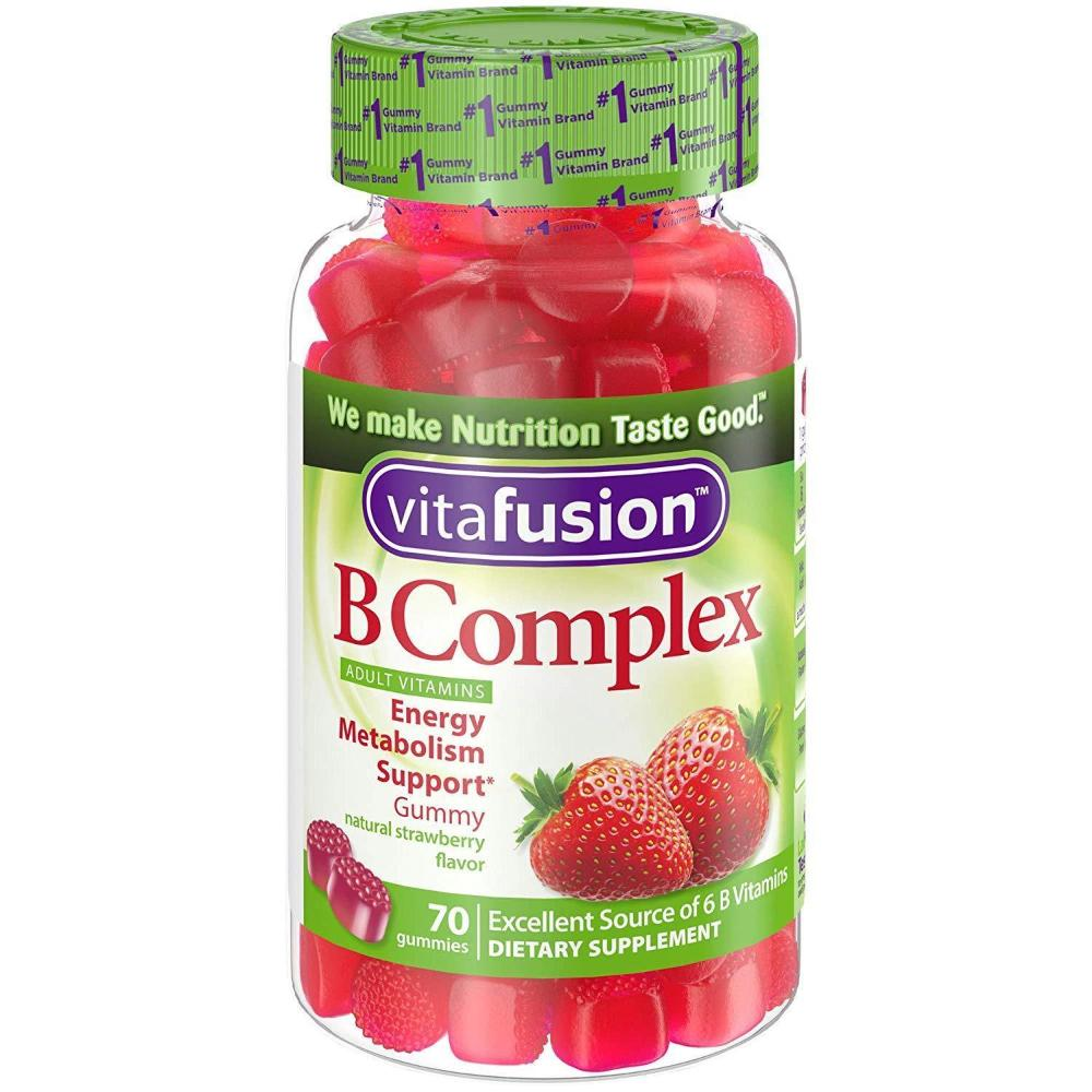 Vitafusion B Complex Adult Vitamin Gummies Natural Strawberry Flavor 70 ct (08/2019)