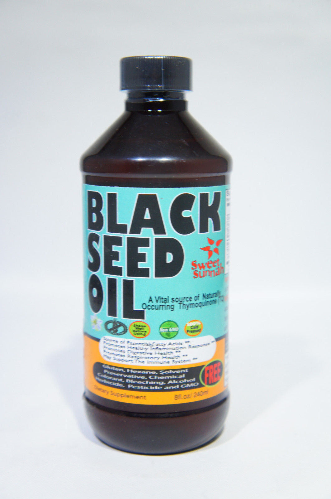 Premium Black Seed Oil Cold Pressed Plastic Bottle 8 oz by Sweet Sunnah