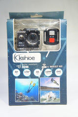 Kshioe 4K WIFI Sports Action Camera, 16MP 170Wide Angle LCD Screen Ultra HD (Like New)