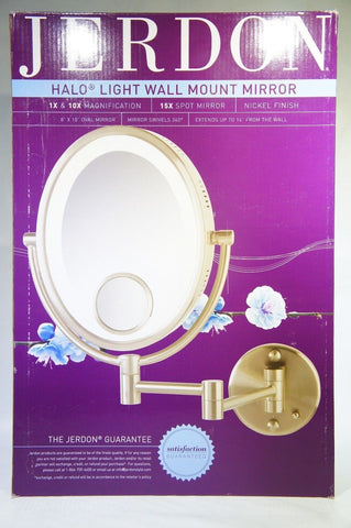 Jerdon HL9515N 8'' Lighted Wall Mount Oval Makeup Mirror 10x & 15x (Used)