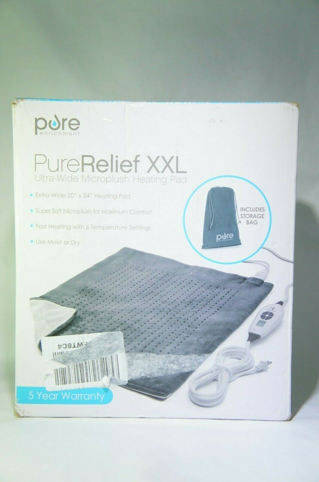 "Pure Enrichment PureRelief XXL Ultra-Wide Microplush Heating Pad 20"" x 24"""