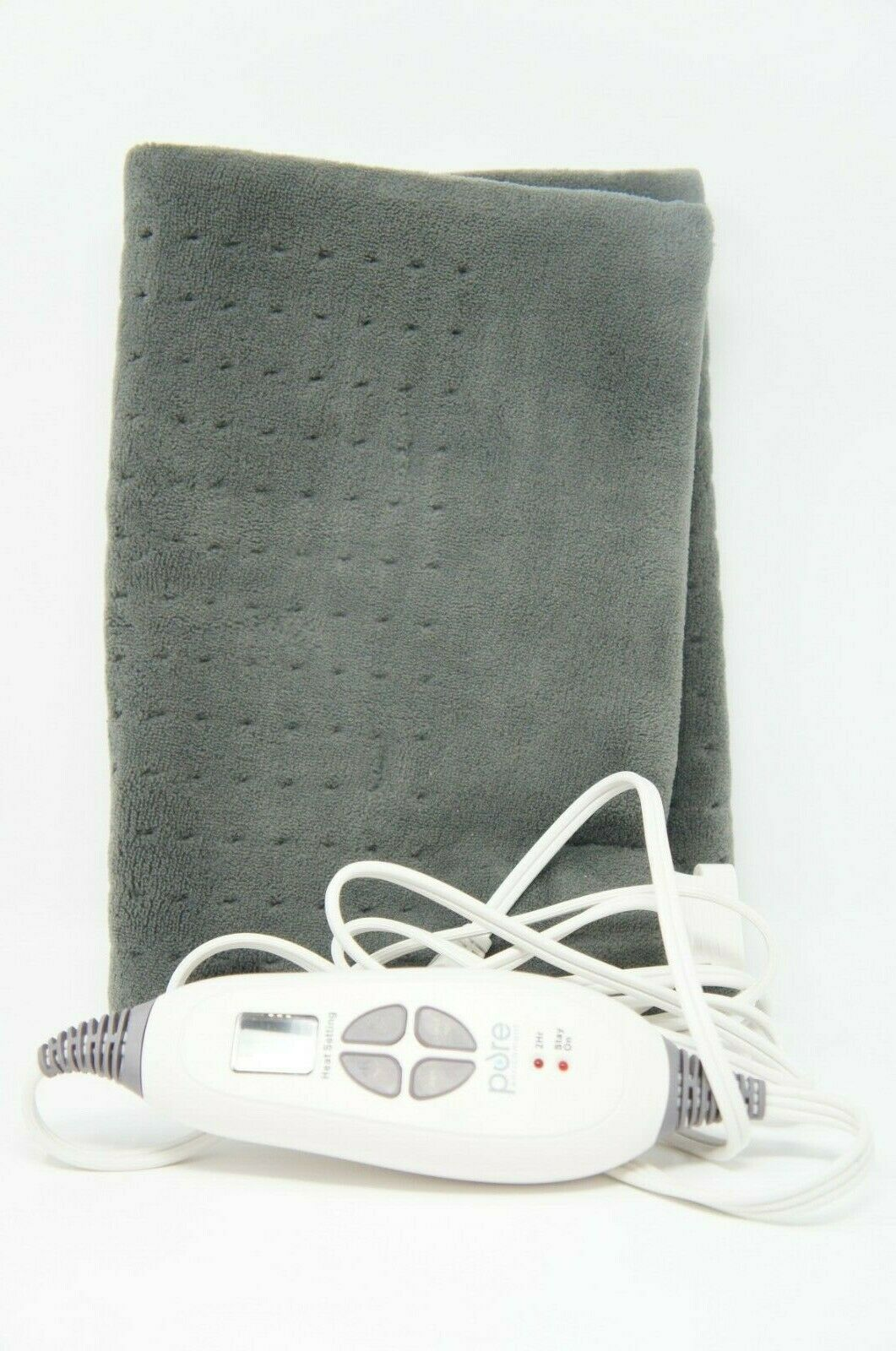 "PureRelief XL King Size Heating Pad 12"" x 24"" Fast-Heating CHARCOAL (Like New)"