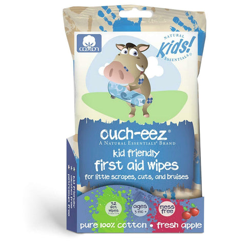 Natural Essentials Ouch-eez Kid Friendly First Aid 100% Cotton Wipes 32-Count