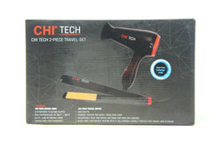 "CHI Tech 2-Pc Travel Set 1400W Hair Dryer 3/4"" Ceramic Hairstyling Iron"