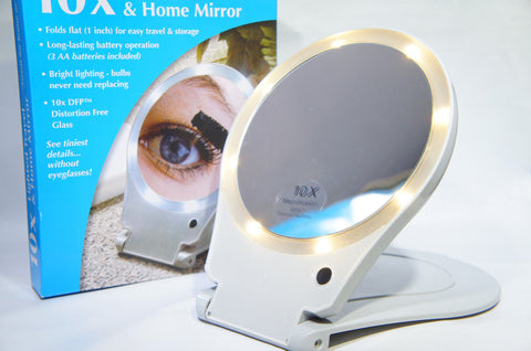 Floxite FL-10LFM LED Lighted Travel and Home 10x Magnifying Mirror