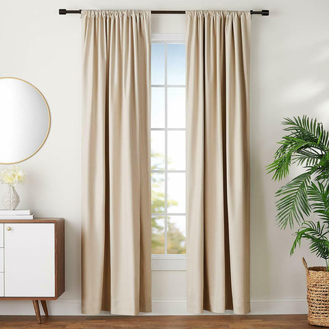 "AmazonBasics Room Darkening Blackout Curtain Set w/ Tie Backs 52"" x 96"" BG"