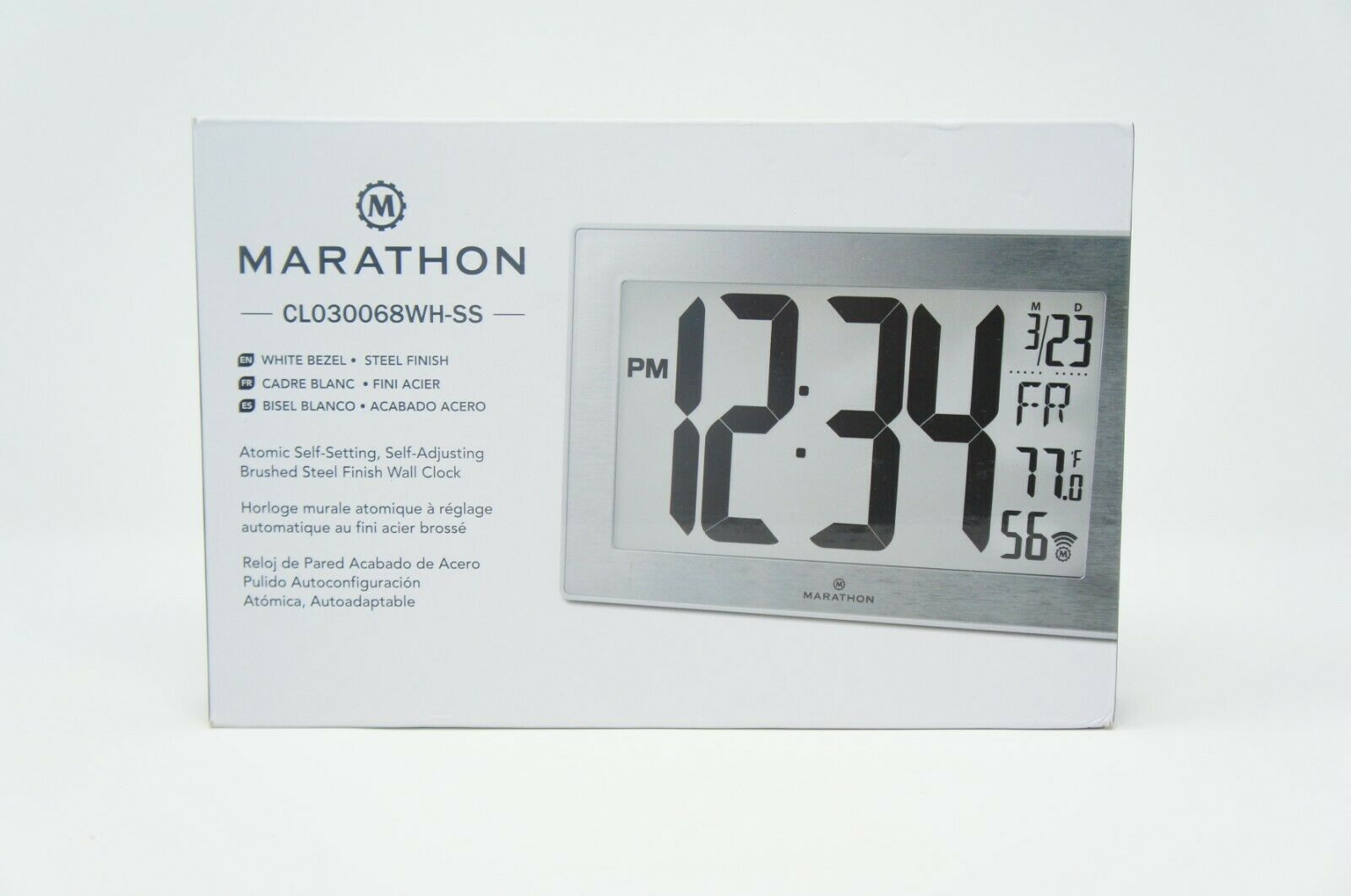 Marathon CL030068WH-SS Slim Panoramic Atomic Wall Clock with Table Stand (Like New)