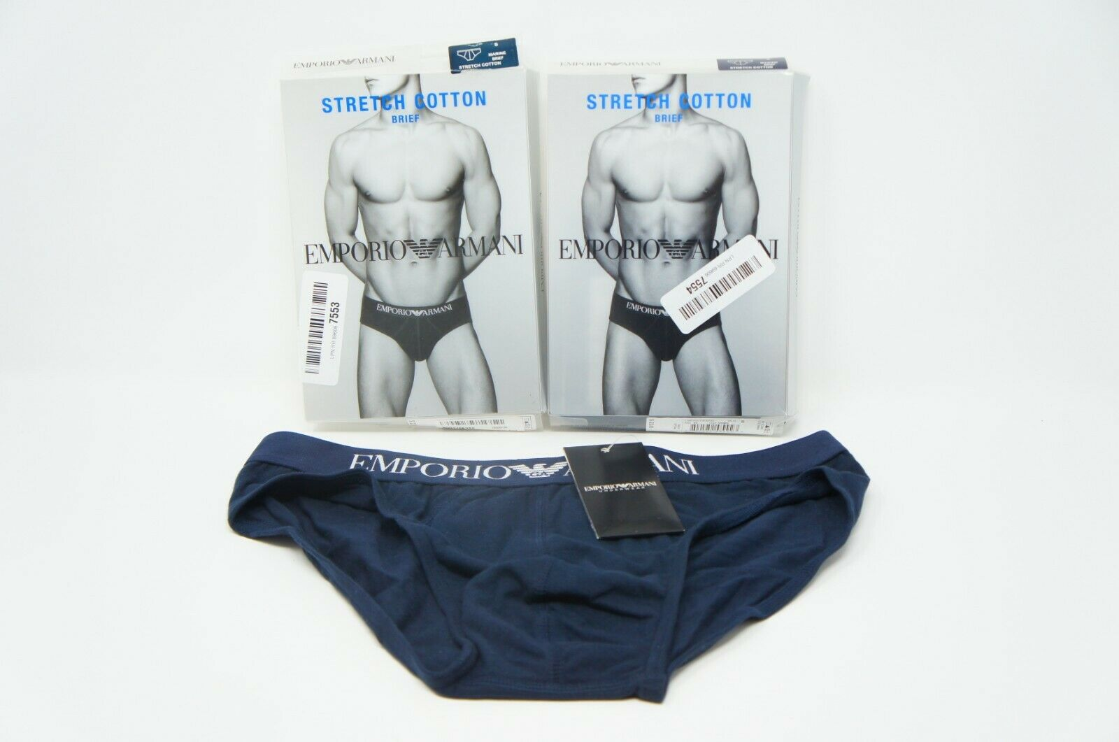 Emporio Armani Men's Cotton Stetch Brief SMALL 2 PACK