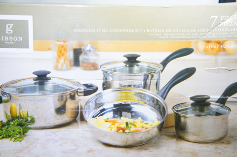 Gibson Home 91943.07 Silver Stream 7-Piece Cookware Set, Glass Lid