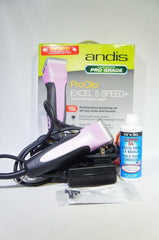 Andis 65410 EasyClip Pro-Animal 5-Speed Detachable Blade Clipper Kit, Pink (Like New)