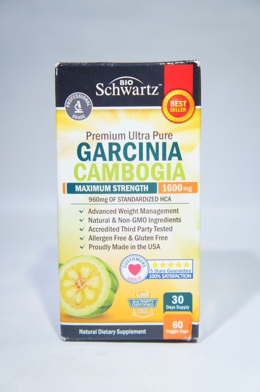 BioSchwartz Garcinia Cambogia 95% HCA Pure Extract with Chromium, 30 DAY SUPPLY, (60 VEGGIE CAPS)