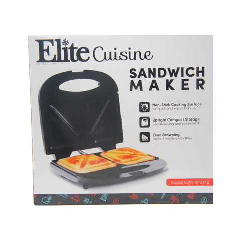 Elite Cuisine ESM-9002KB Compact Electric Panini Press Sandwich Maker Non-Stick, Black