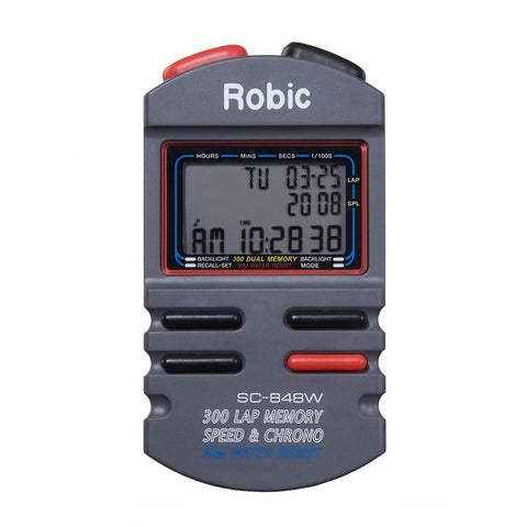 Robic SC-848 300 Memory Speed Lap Timer & Counter Chronograph Stopwatch 1/100
