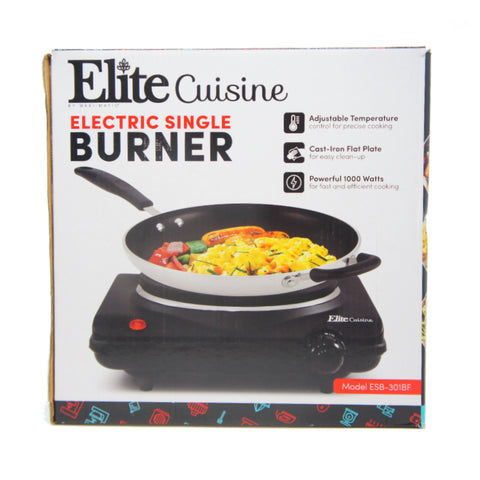 Maxi-Matic Elite Single Electric Flat Cast Iron Heating Plate Burner ESB-301BF