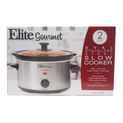 Elite Gourmet MST-275XS Oval Electric Slow Cooker, Adjustable Temp 2Qt