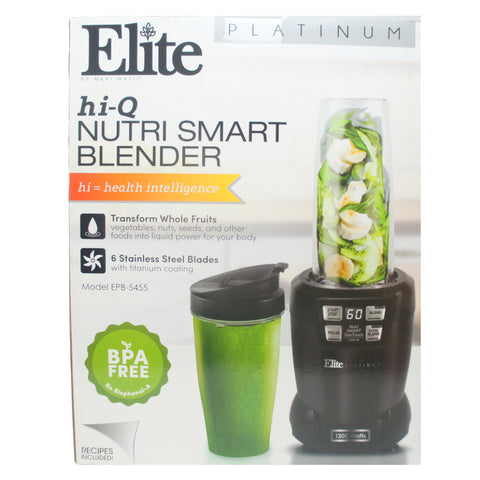 Elite EPB-5455 Hi-Q Nutri Smart Blender Tritan Blending Cups 1200W, Black