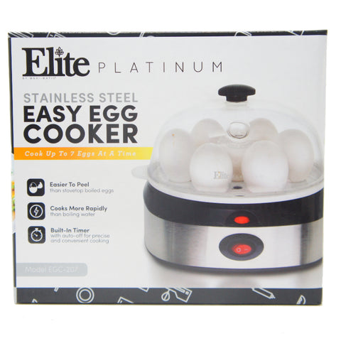 Elite Easy Electric Egg Poacher Omelet 7 Capacity, Stainless Steel EGC-207