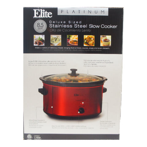 Elite MST-900R Stainless Steel Slow Cooker with Tempered Glass Lid 8.5 Qt Red