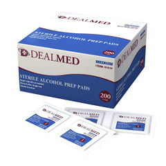 Dealmed 781010 Alcohol Prep Pads, Sterile MEDIUM 200