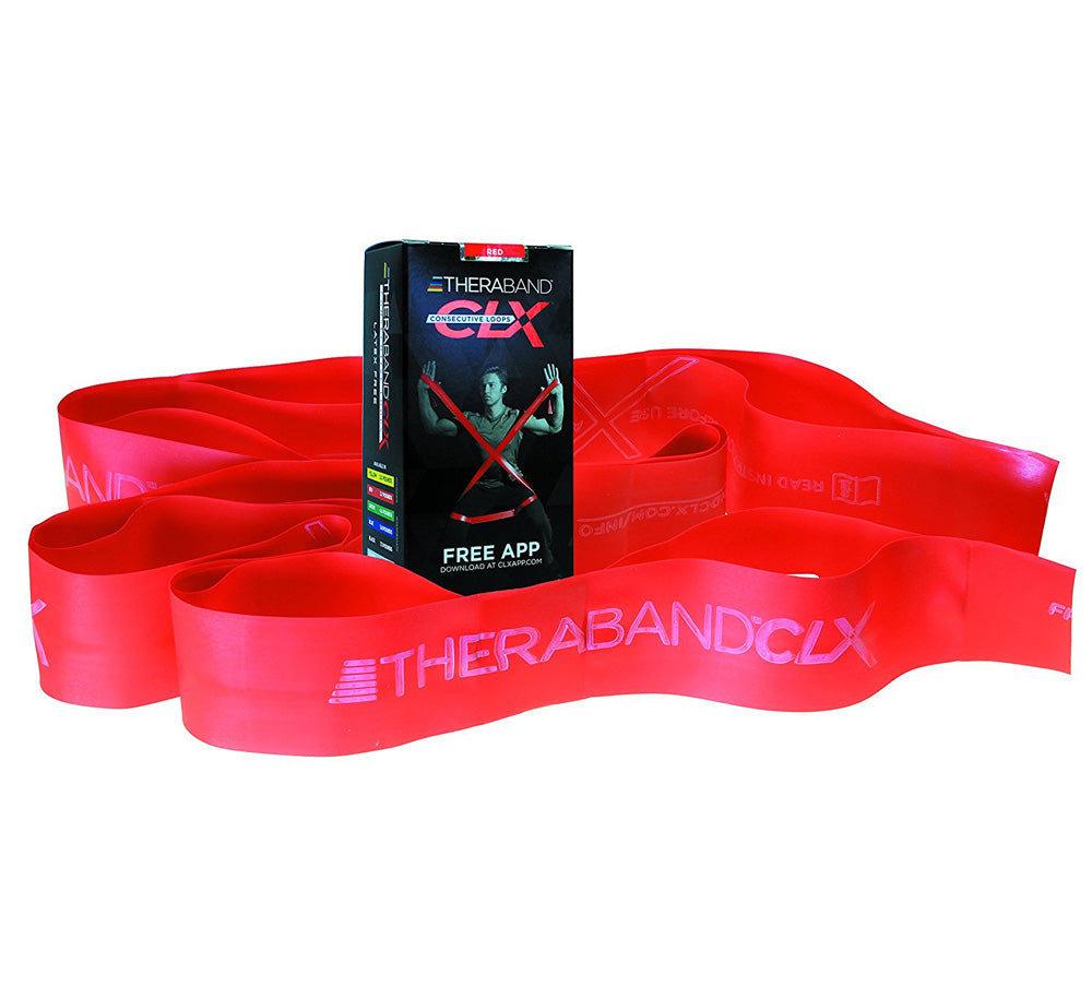 TheraBand 12722CLX Resistance Band with Loops, Medium, Red (LB-43)
