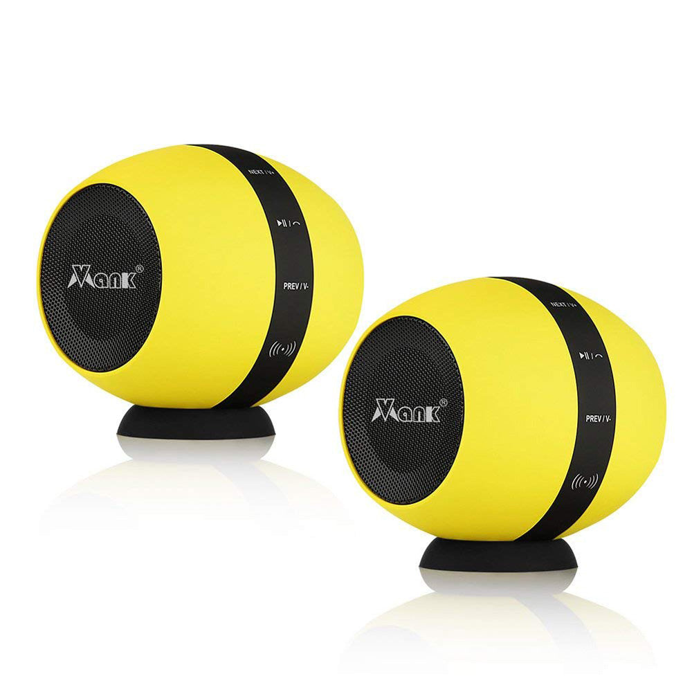 Vmank Dual Stereo Bluetooth Speakers, Portable DualCoreSound Mini Wireless Speaker, 66-Feet Bluetooth Range & Built-in Mic, Surround Sound with Microphone for iPhone Android IOS, Yellow