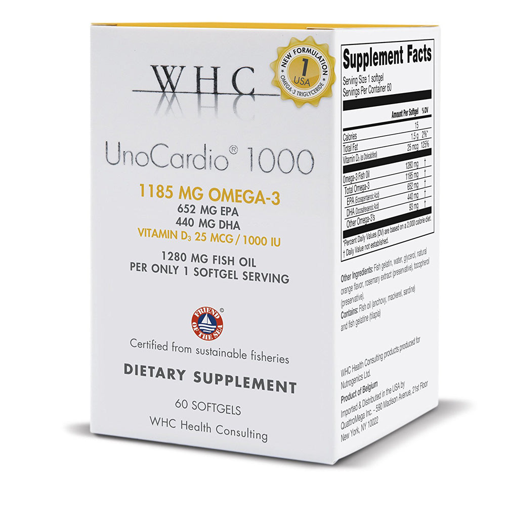 WHC UnoCardio 1000 1280 mg of pure Triglyceride Fish, 60 Softgels