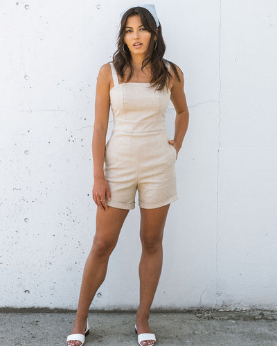 Bardot Romper - Natural