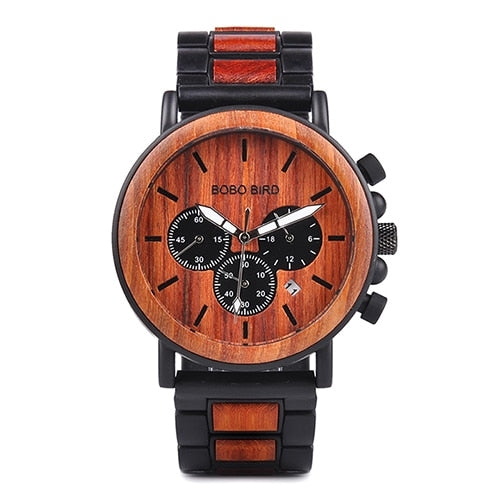 Men's Steel/Wood Watch  Top Brand Luxury